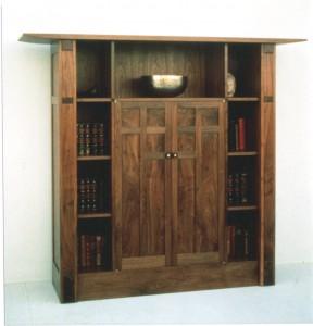 Walnut display bookcase